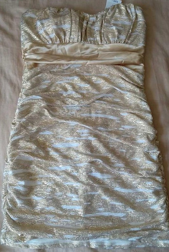 padrísimo vestido strapless estampado metálico animal print
