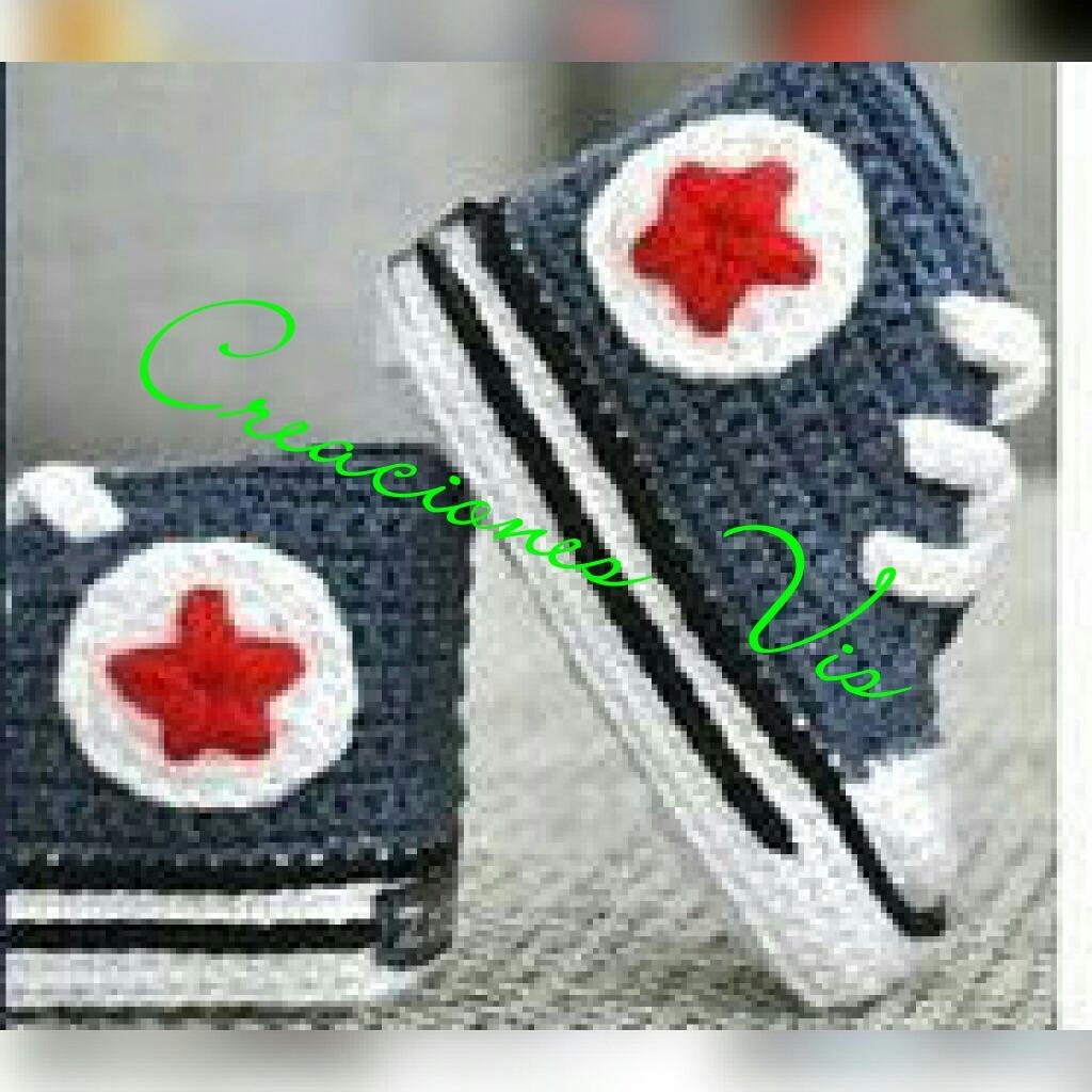 zapatillas tipo converse tejidas a crochet