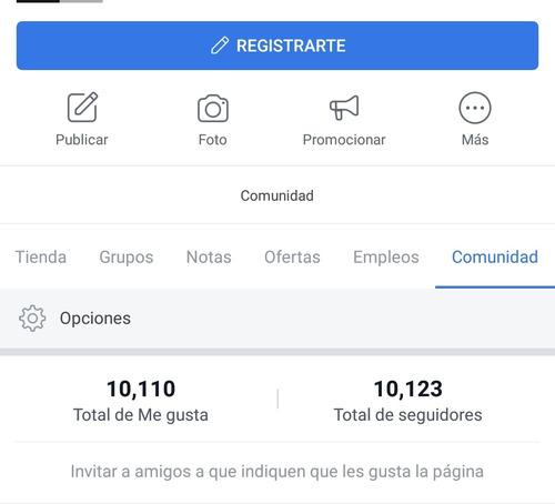 página de facebook con 10000 seguidores, 90% hombres