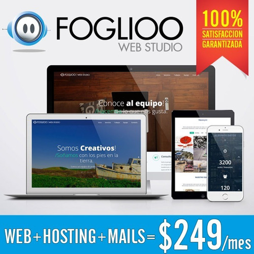 página web + hosting + mails = $249 por mes.