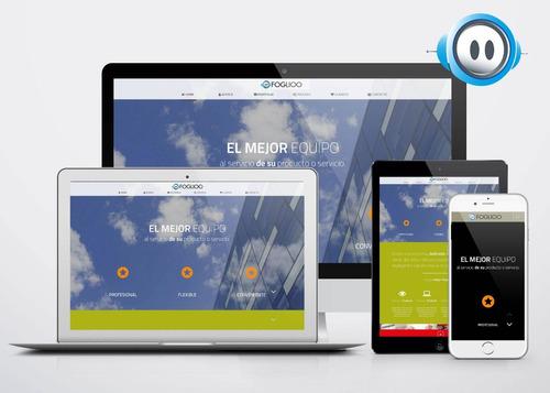 página web + hosting + mails = $299 por mes.