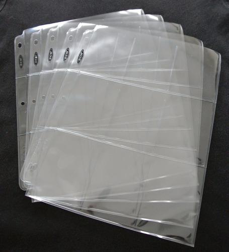 páginas u hojas bcw para barajitas 9 bolsillos (combo de 5)