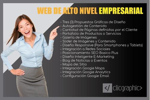 páginas web autoadministrables con hosting y dominio $4000