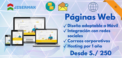 páginas web + dominio .com + hosting + correos