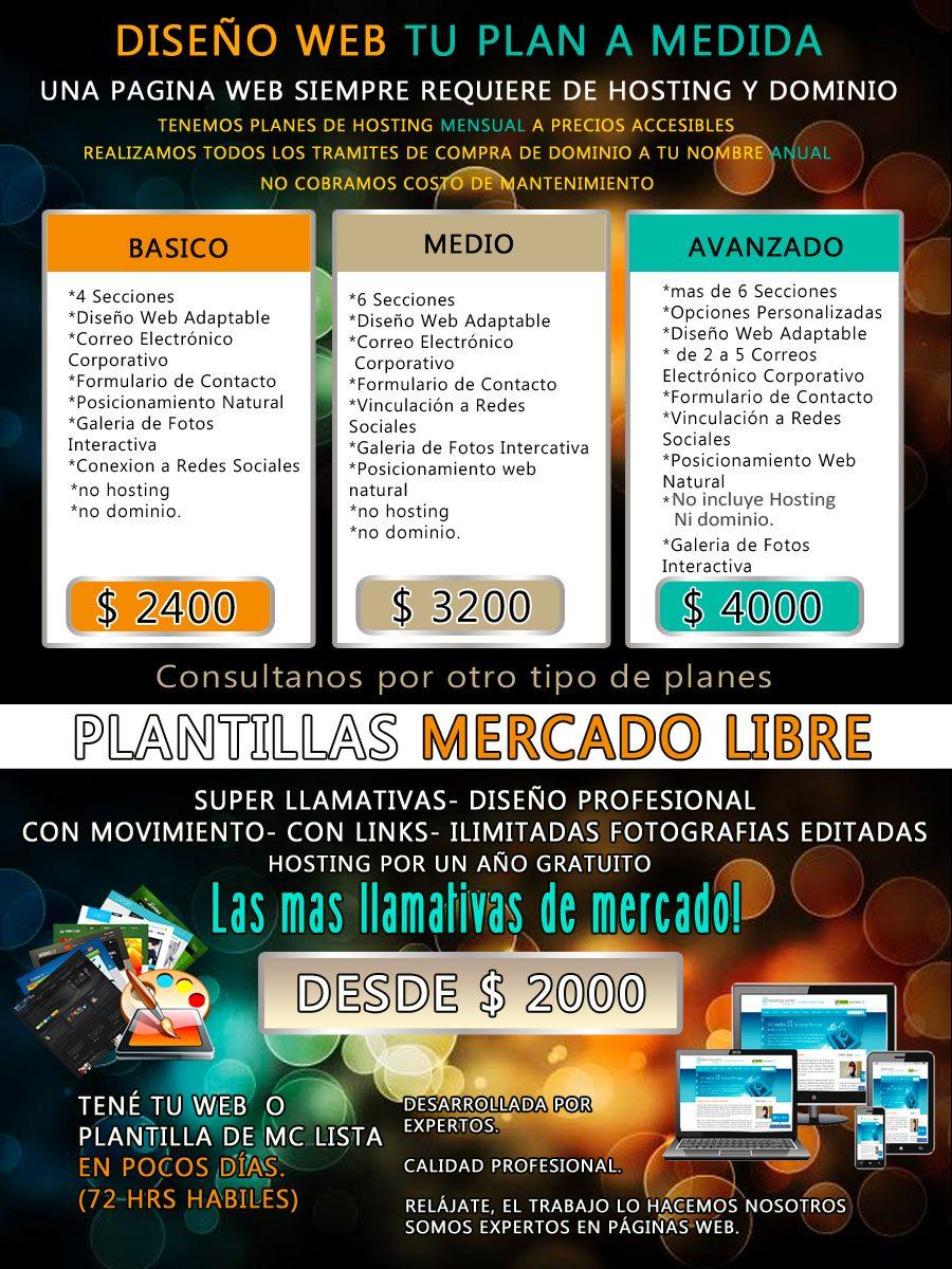Paginas Web Plantillas Mercado Libre Diseño Grafico - $ 2.000 en ...