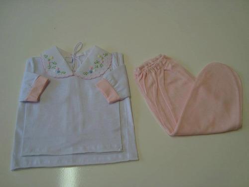 pagão+calça malha bordado a mão bebe nene camisa conjunto