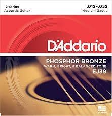 paguete de cuerdas guitarra marca :d'addarío calibre 0.12