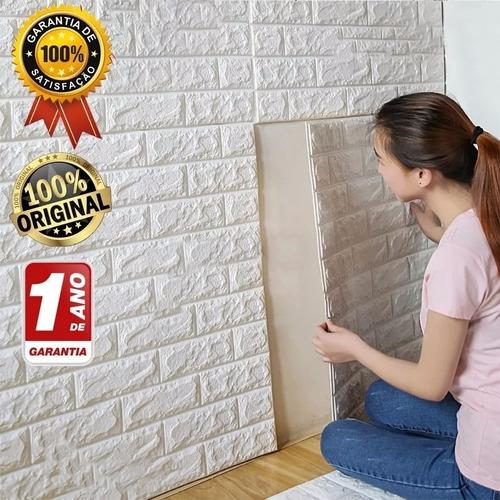 painel 3d tijolo branco auto adesivo 77 x 68 promoção!