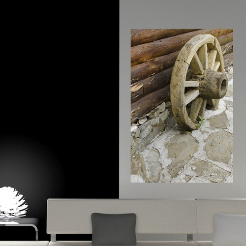 painel adesivo de parede - roda de carroça - n2056