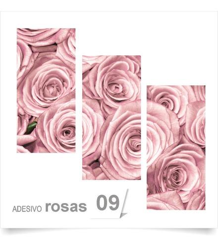 painel adesivo parede decorativo rosas flores rosa quarto 09