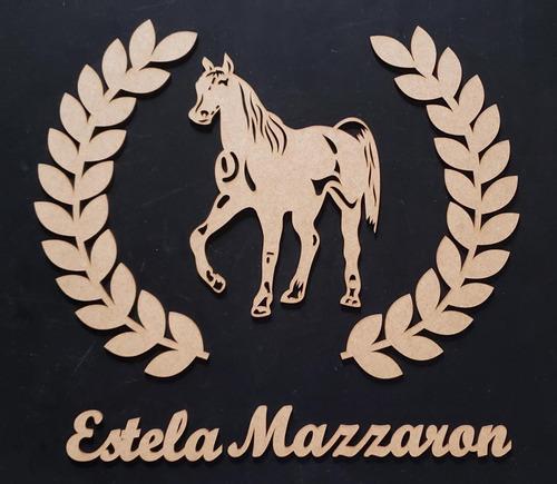 painel cavalo c/ ramos e nome decoração parede mdf cru 50cm
