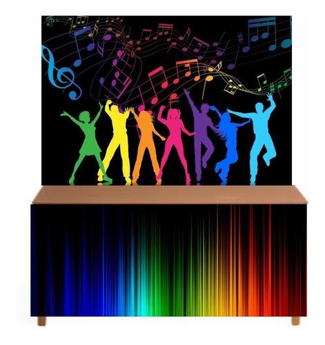 painel de festa 3d + saia de mesa lona balada neon