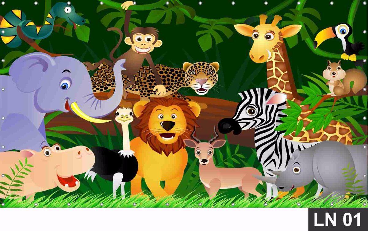 Painel De Festa Aniversário Safari Animais 2,00×1,50m R$ 96,00 em Mercado Livre -> Decoração Festa Infantil Zoologico