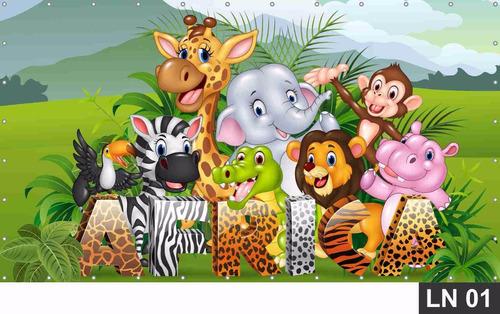 painel de festa aniversário safari baby 1,00x0,50m lona