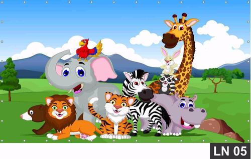 painel de festa aniversário safari baby 1,50x1,00m lona