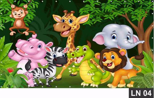 painel de festa aniversário safari baby 2,00x1,00m lona