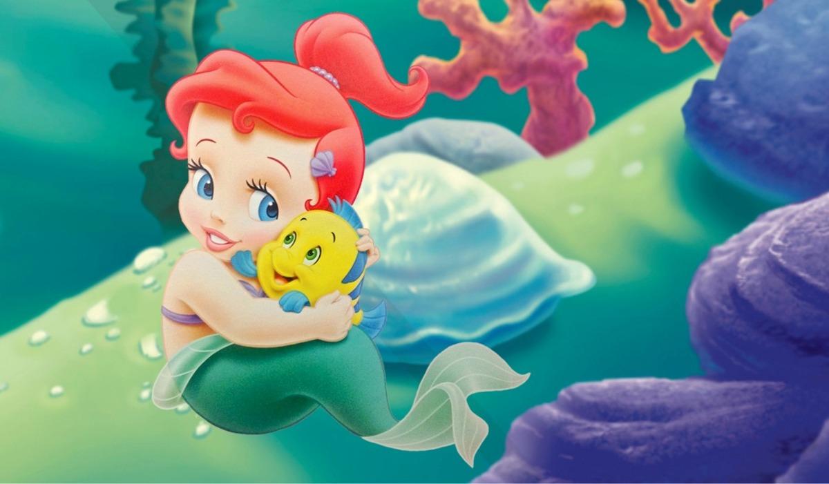 Painel De Festa Ariel Pequena Sereia Baby Cut 1 00 X 1 50m R