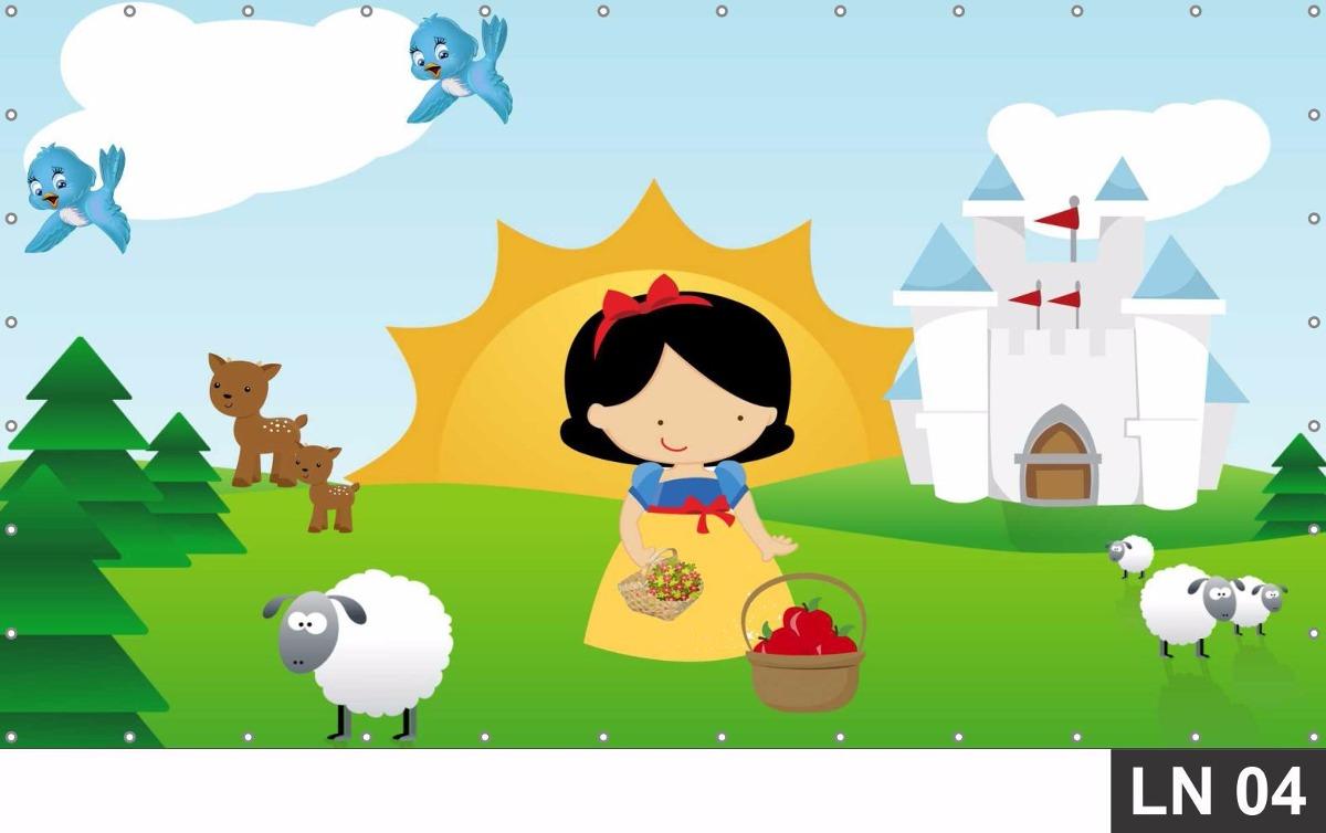 painel de festa branca de neve cute baby 3 00x1 40m lona r 119 00