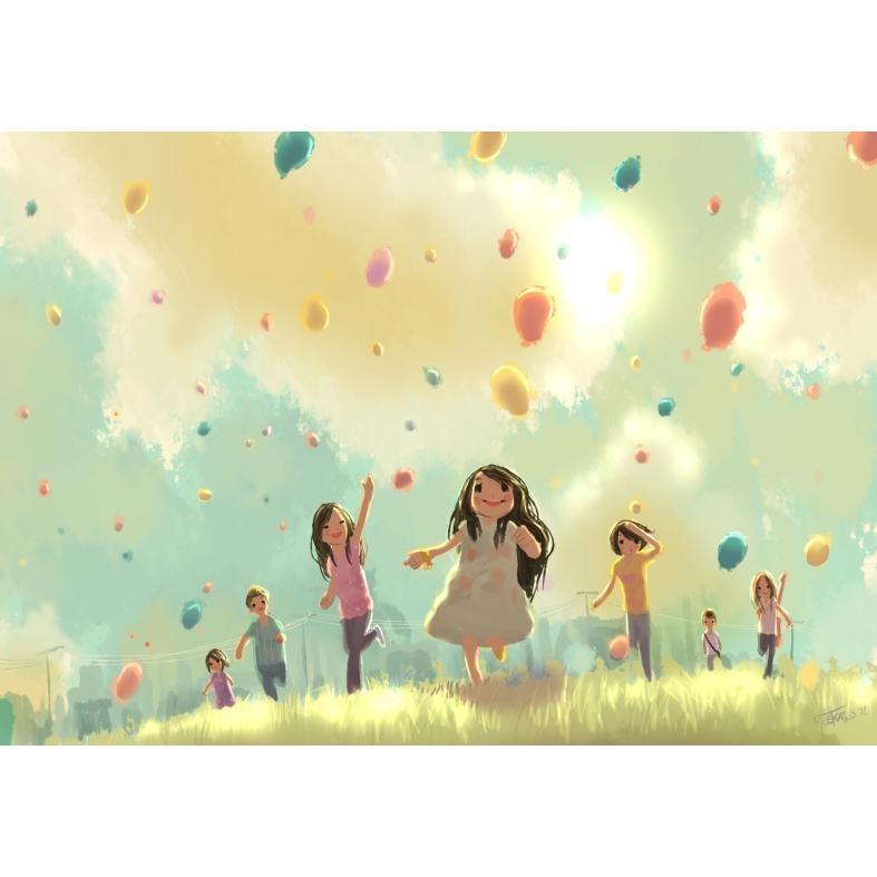 painel de festa crianas brincando no campo 100x060 cm
