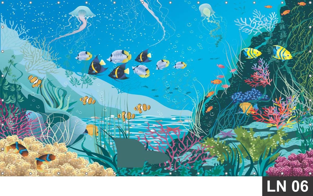 Painel De Festa Fundo Do Mar Oceano 200x150m Lona R 9600 Em