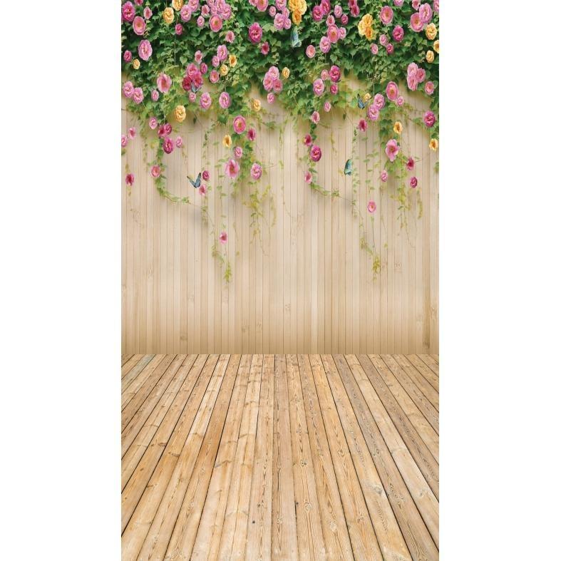 painel de festa fundo tabuas com flores 240x130 cm