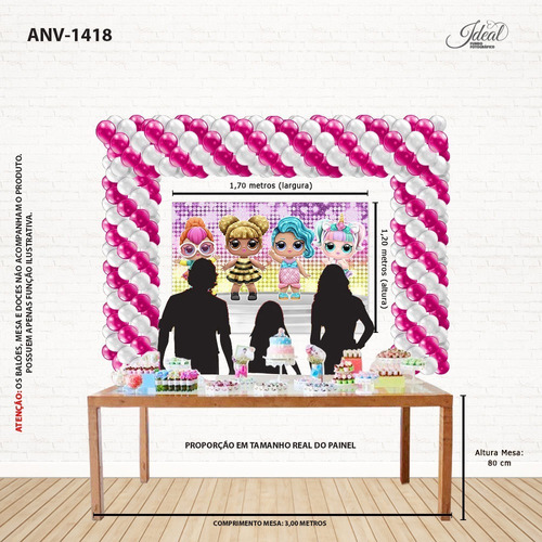 painel de festa infantil lol surprise em tecido - 1,7x1,2m