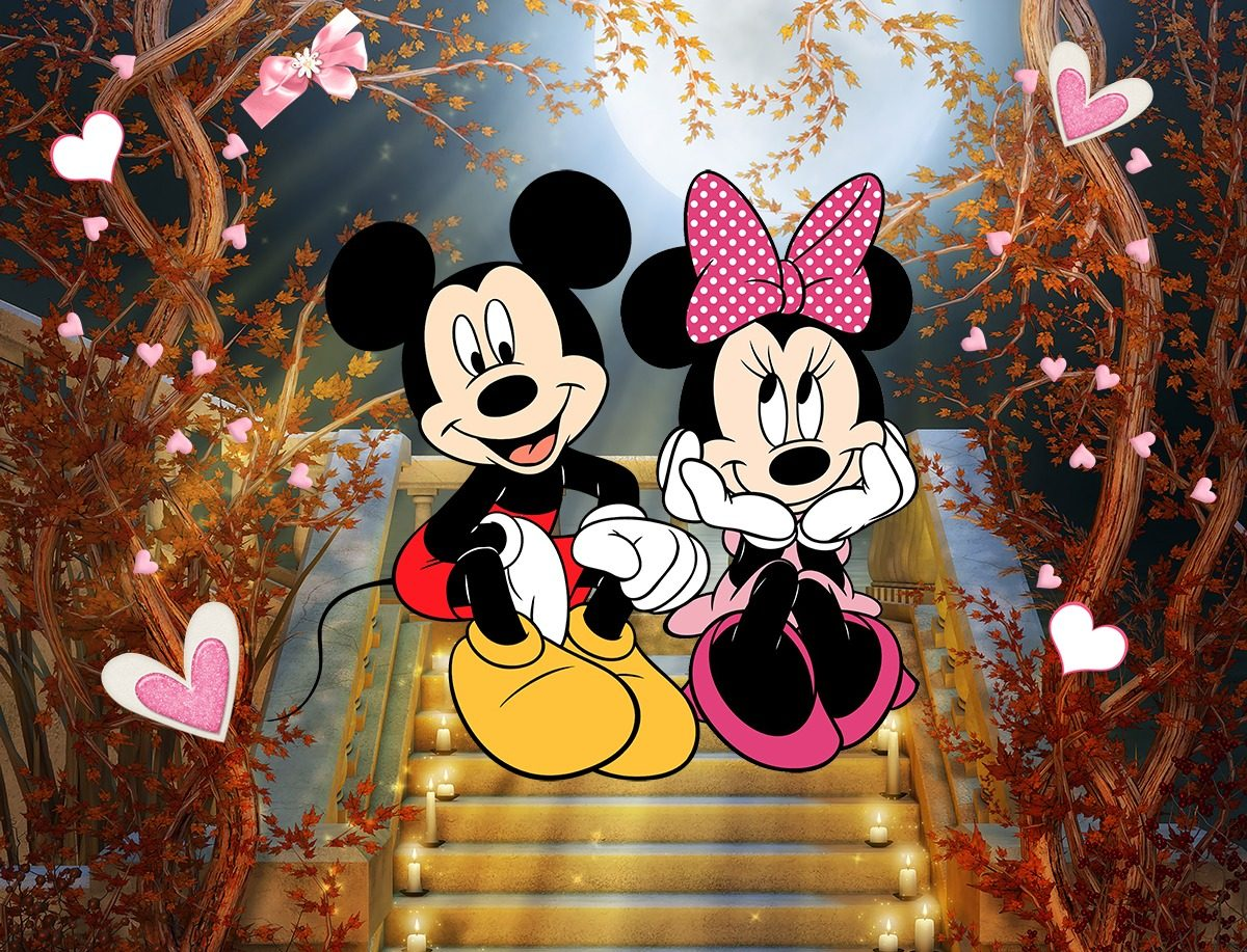Painel De Festa Tecido Mickey E Minnie Romanticos 3 0x2 0m R