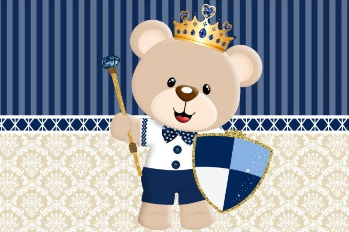 Painel De Festas Ursinho Rei Ursinho Principe Infantil Fofo R