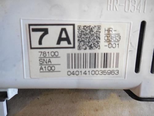 painel de instrumento velocimetro hr0363001 civic 07/2011