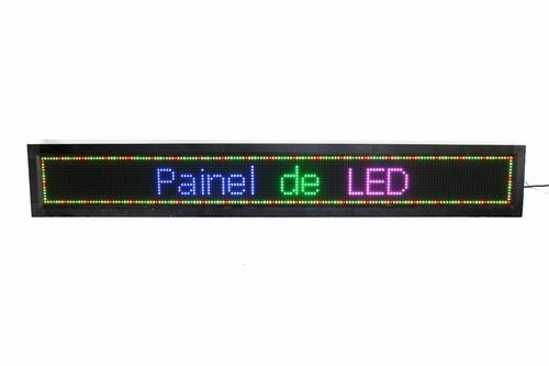 painel de led, letreiro digital 167cm x 23cm colorido