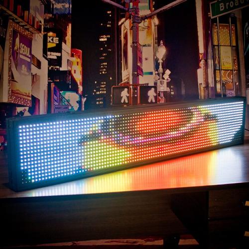 painel de led letreiro digital 1m x 20 colorido rgb outdoor