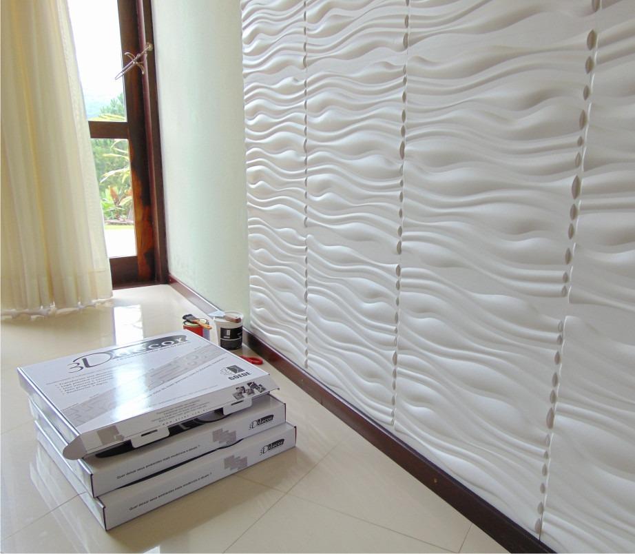 Painel de parede 3d wellen em pvc 50x50 branco 4 pcs r for Placas pvc para paredes