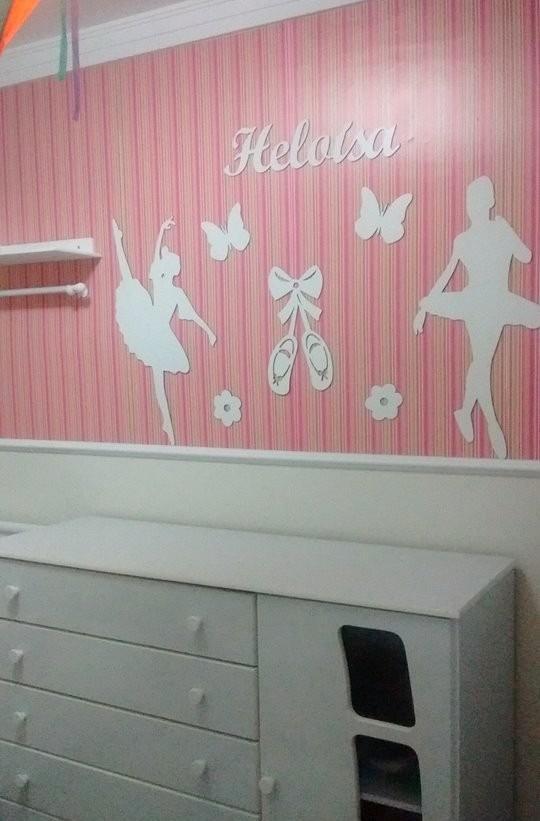 Painel De Parede Mdf Branco Bailarinas Decoração Quarto Bebê  R$ 149,00 em M
