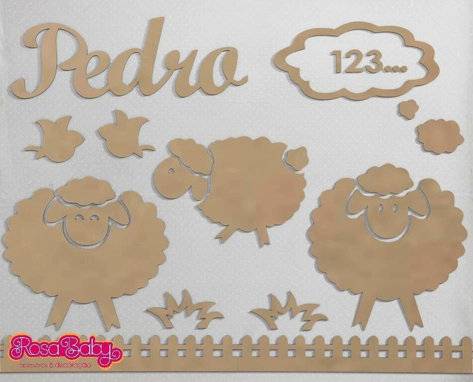 Painel De Parede Mdf Cru Ovelhas Decoraç u00e3o Quarto Do Beb u00ea R$ 106,80 em Mercado Livre