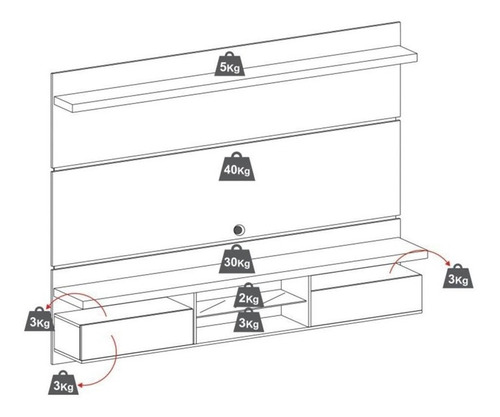 painel de tv c/ bancada livin 2.2 off white/deck - hb móveis