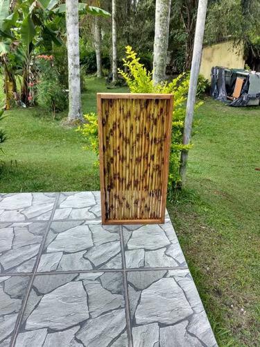 painel decorativo bambu tratado 100x50 estrutura madeira