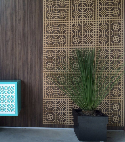 painel decorativo em mdf 3mm elemento vazado 45 x 45 cm