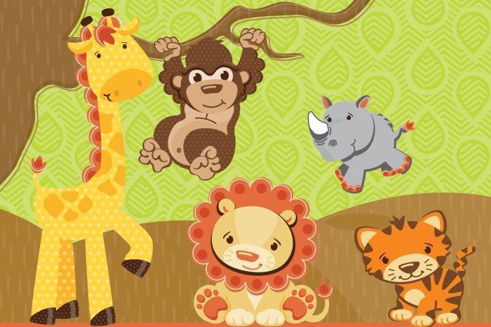 Painel Decorativo Festa Infantil Safari Zoo Animais (mod5) R$ 54,90 em Mercado Livre -> Decoração Festa Infantil Zoologico