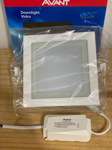 painel embutir led vidro quadrado biv 12w branco 6500k avant