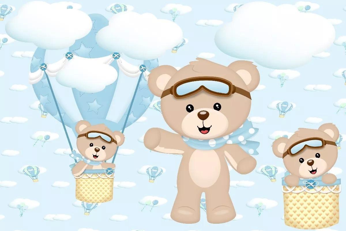 Painel Festa Decoracao Infantil Urso Aviador 2x1 R 49 90 Em
