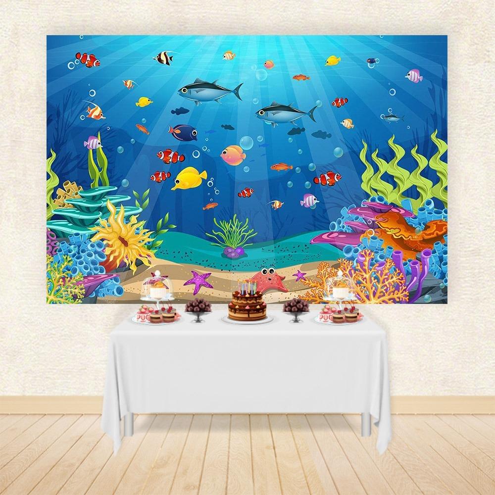 Painel Festa Em Tecido Fundo Do Mar 684 3x2m R 21000 Em