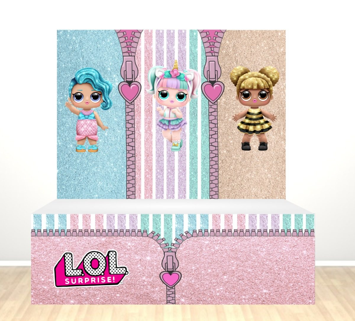 Painel Festa + Saia Mesa Lol Surprise Glitter + Displays - R  169 121a89446806d
