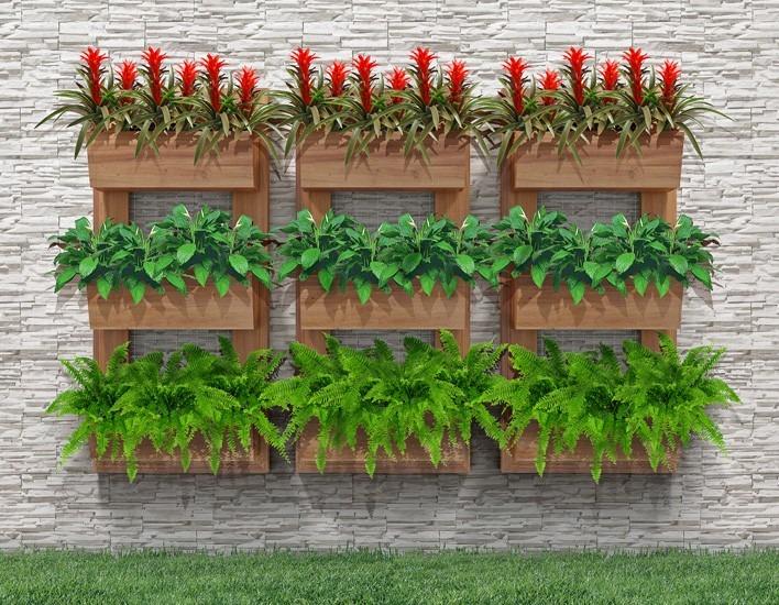 horta jardim vertical : Painel Horta Vertical Suspensa 100cm X 55cm Jardim Olilo ...