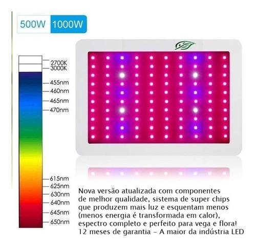 painel led grow super chip 500w full spectrum 12 bandas luz
