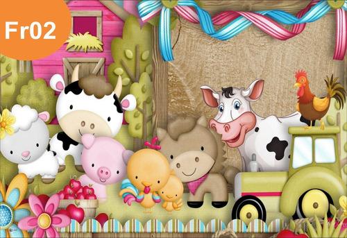 painel lona fazendinha rosa animais fazenda banner - fosca