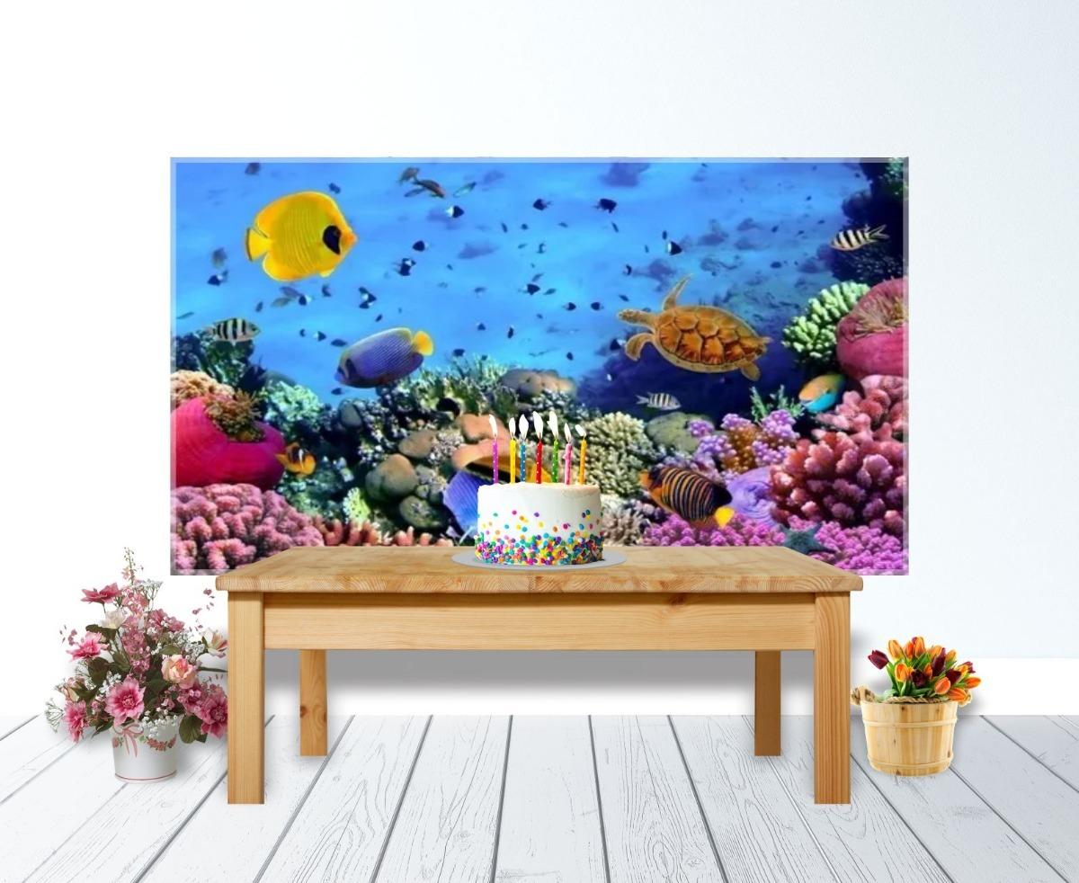 Painel Lona Festa Infantil 3x17m Fundo Do Mar Corais Peixe R 139