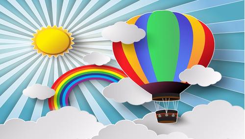 painel lona festa infantil 3x1,7m nuvens, balões e arco íris