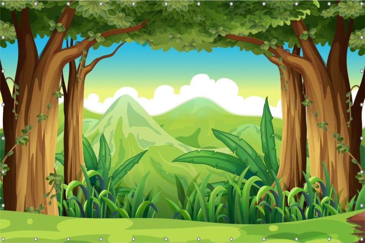 Painel Lona Floresta Safari Desenho Festa Infantil Decoracao R