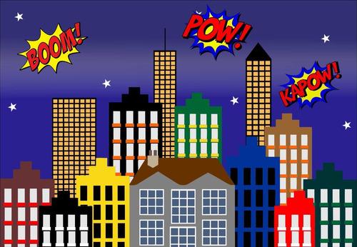 painel lona fosca cidade super herois (02) 2,00x1,50. 48hs