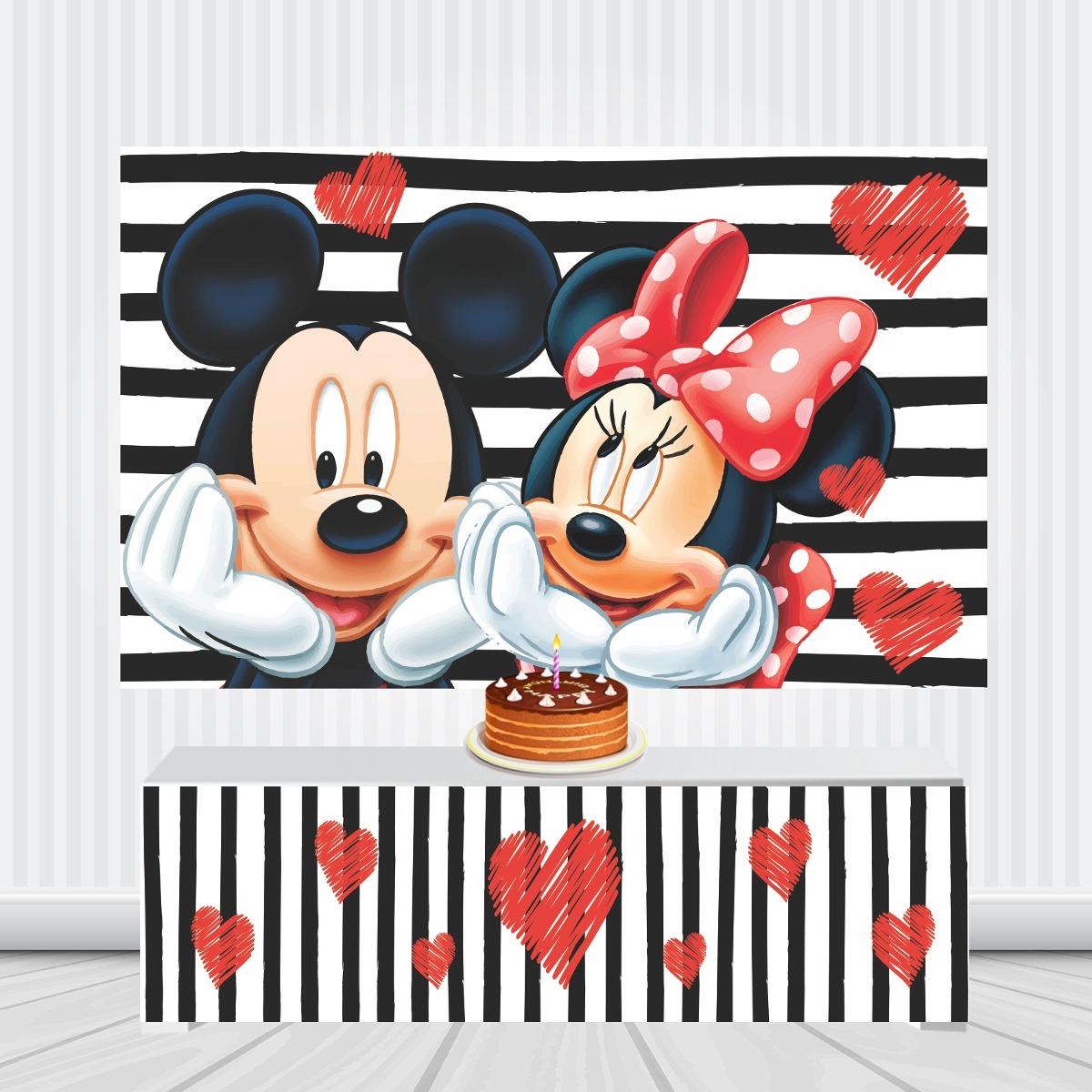 Painel Mickey E Minnie Listras 2 5por1 5m Frente Da Mesa R